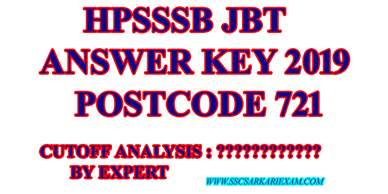 HPSSSB JBT ANSWER KEY