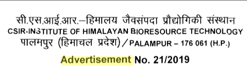VACANCY CSIR - Institute of Himalayan Bioresource Technology