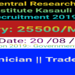 Central Research Insitute Kasauli Vacancy 2019