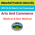 HPU B.ED MERIT LIST DOWNLOAD